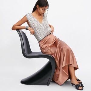 NWT Zara Size 6 Midi Satin Skirt